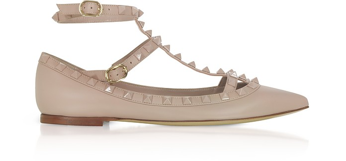 Powder Pink Rockstud Ballerinas - Valentino Garavani