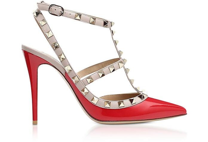 Rockstud Red Patent Leather Ankle Stap Pumps - Valentino Garavani