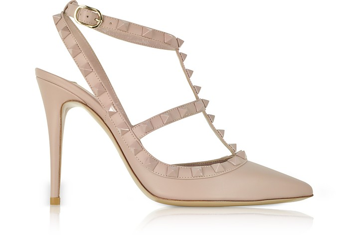 Poudre Leather Rockstud Pumps - Valentino Garavani