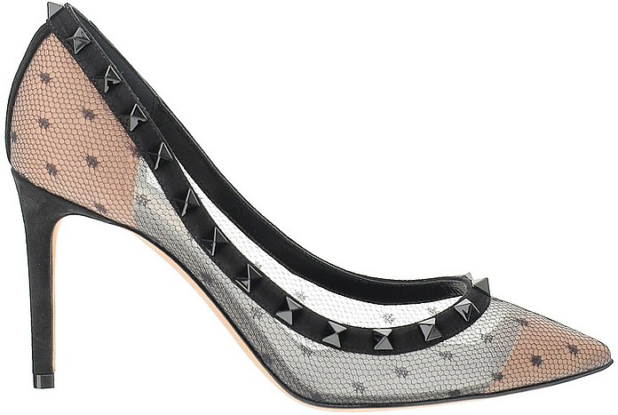 Polka Dot Lace and Leather Rockstud Pumps - Valentino