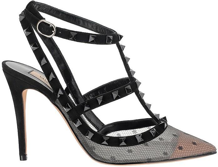 Polka Dot Lace and Leather Rockstud Slingback - Valentino