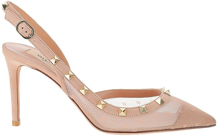 Powder Pink Polka Dot Lace and Leather Rockstud Slingback - Valentino