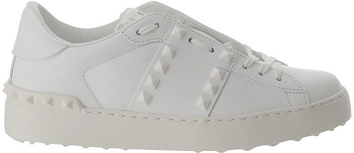 Optic White Low Top Women's Sneakers w/Studs - Valentino