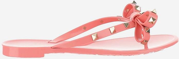 Pink Rockstuds Flip Flop Sandals - Valentino