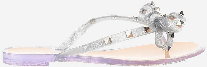 Rockstud Glittered Rubber Flip Flop Sandals - Valentino