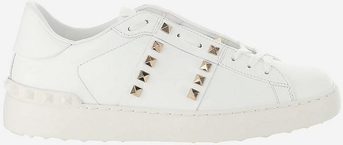 White Rockstud Untitled Calfskin Sneakers - Valentino