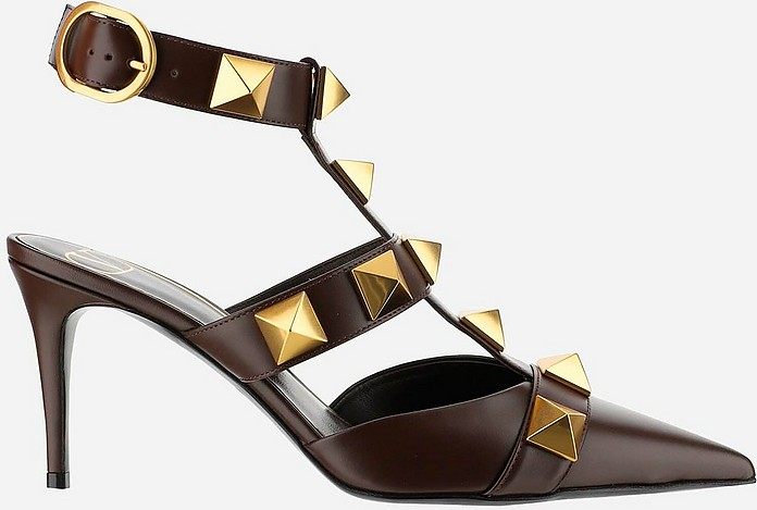 Dark Aubergine Leather Roman Studs Slingback Shoes - Valentino Garavani