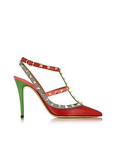 Rockstud Italian Pop Leather Slingback Pump