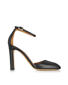 Black Leather Ankle Strap d'Orsay Pump