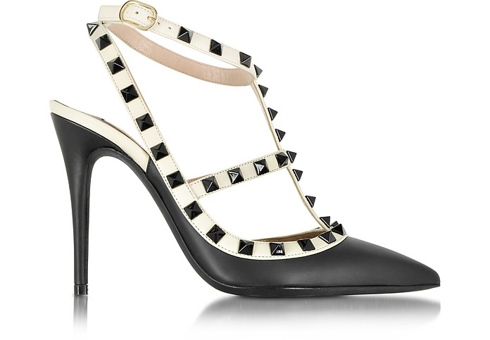 Rockstud Black & Light Ivory Leather Ankle Strap Pump - Valentino