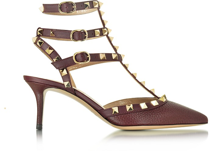 sale retailer half off preview of Valentino Garavani Rockstud Sandalo in Pelle Rubin con Borchie