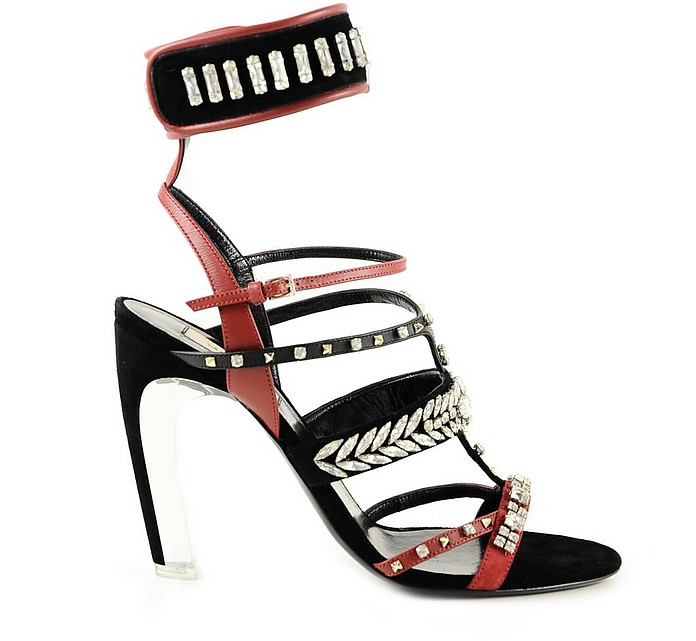 Black and Red High Heel Sandals - Valentino