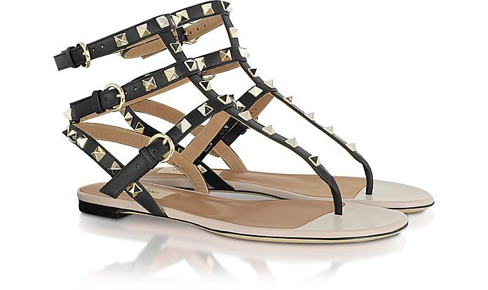 Rockstud - Calfskin and Nappa Leather Sandal - Valentino