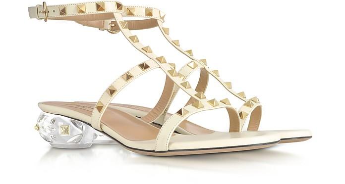 Rockstud Light Ivory Leather Sandals - Valentino