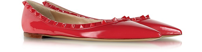 Rockstud Rouge Patent Leather Ballerina - Valentino