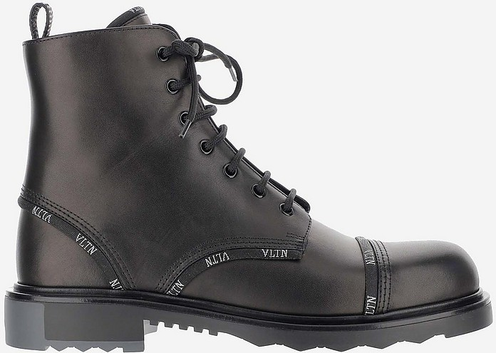 Black Leather VLTN Jaquard Tape Men's Combat Boots - Valentino Garavani