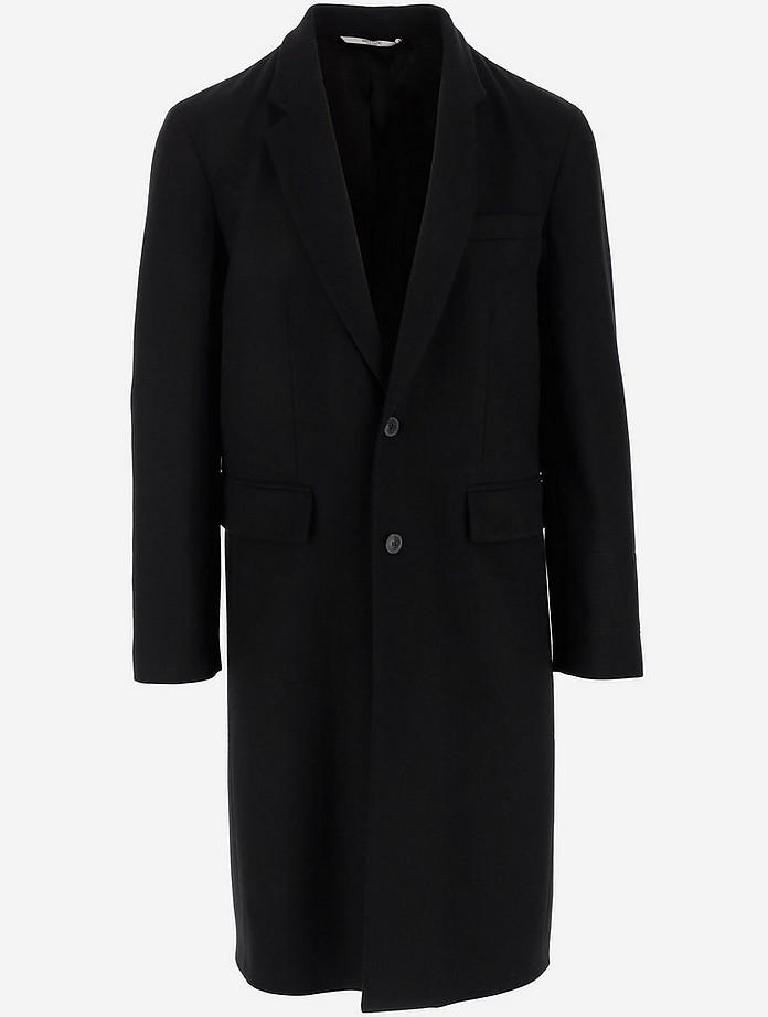 Black Wool Men's Coat - Valentino