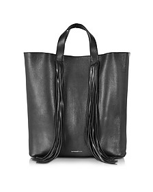 Bobby Cabas Black Fringed Leather Tote