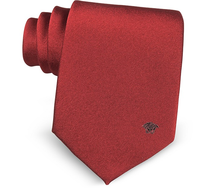 Solid Medusa Pure Silk Tie - Versace