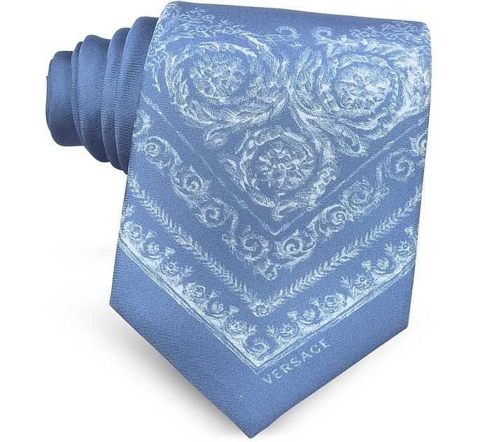 Light Blue Ornamental Baroque Printed Silk Tie - Versace