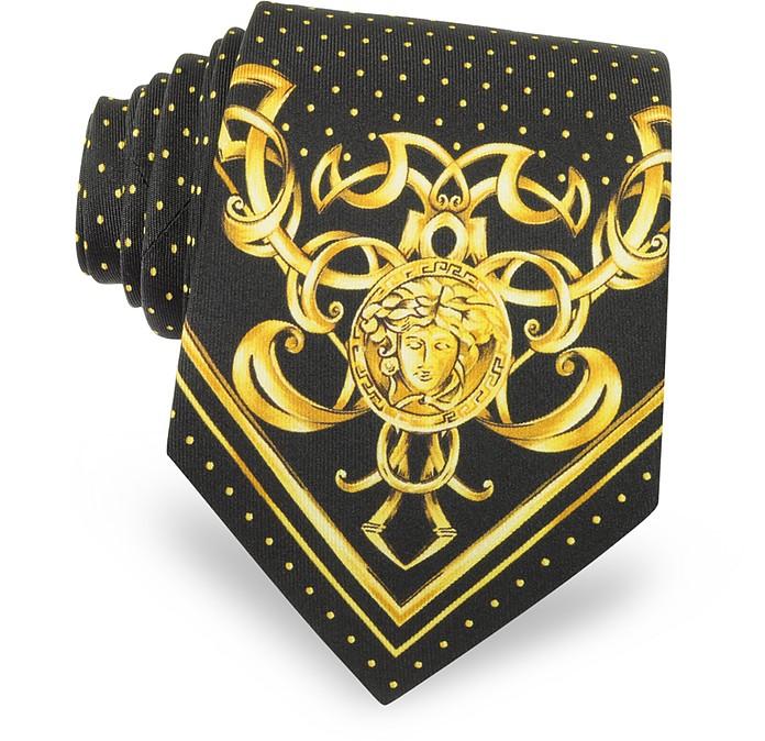 Polkadots & Medusa Printed Silk Tie - Versace