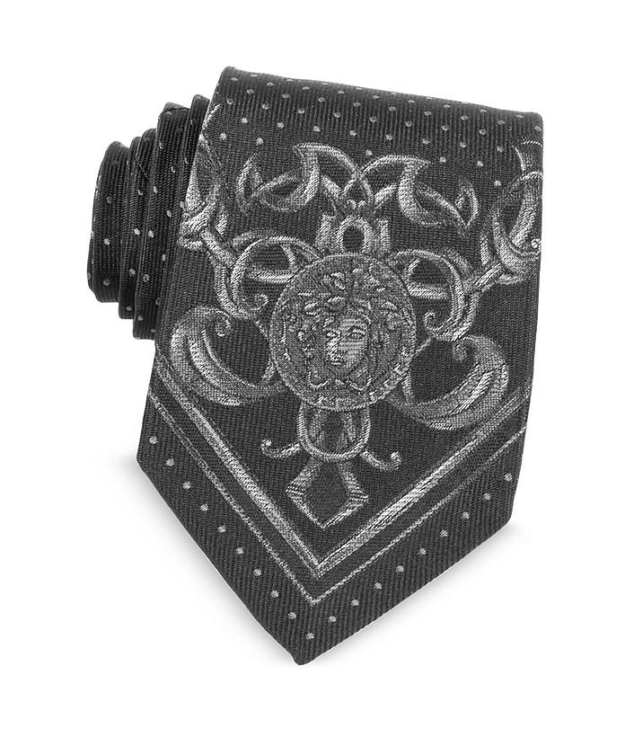 Micro Polka Dots Narrow Ties w/Medusa Print - Versace
