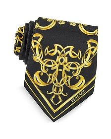 Black and Gold Ornamental Print Silk Tie - Versace
