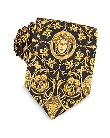 Black and Gold Medusa Print Silk Tie - Versace
