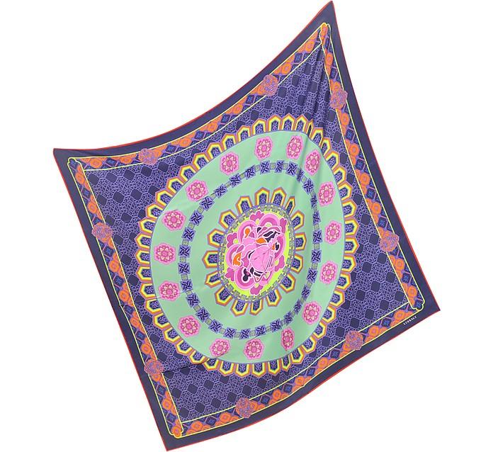 Ornamental Floral Print Silk Square Scarf - Versace