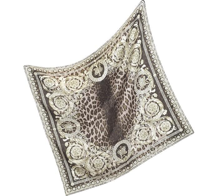 Ornamental Leopard Print Silk Scarf - Versace