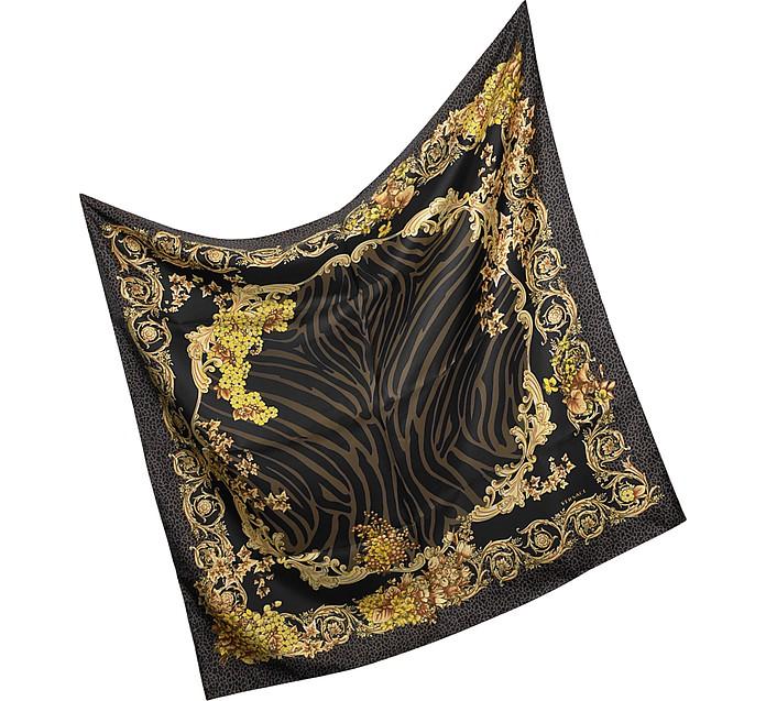 Animal Print Silk Square Scarf - Versace