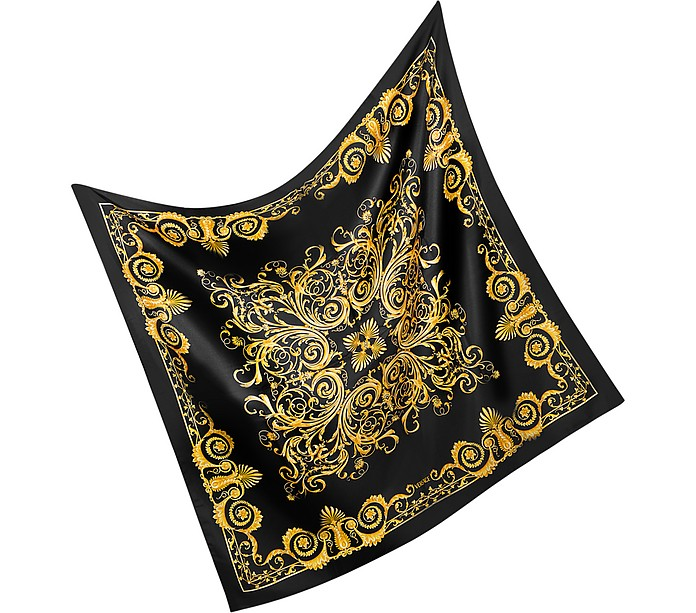 Black and Gold Silk Square Scarf - Versace