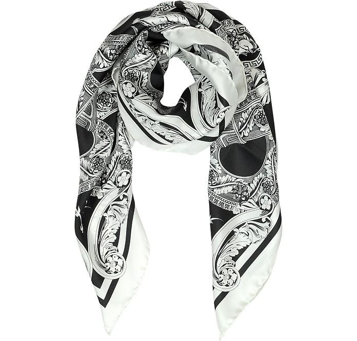 Black & White Medusa Logo Twill Silk Square Scarf - Versace