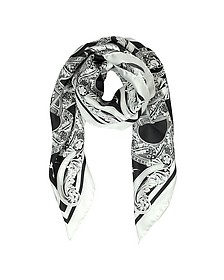 Black & White Medusa Logo Twill Silk Square Scarf