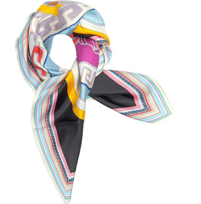 Medusa Pop Twill Silk Square Scarf - Versace