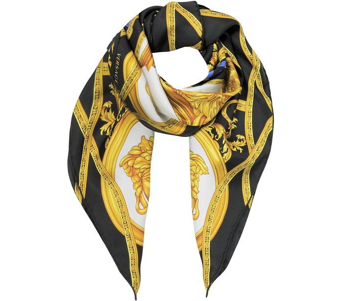La Coupe Des Dieux Black and Gold Twill Silk Square Scarf - Versace