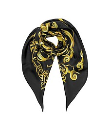 Black and Gold Heritage Barocco Print Twill Silk Square Scarf - Versace