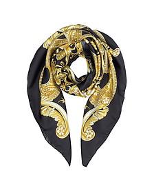 Black/Gold Barocco Istante Print Silk Square Scarf - Versace