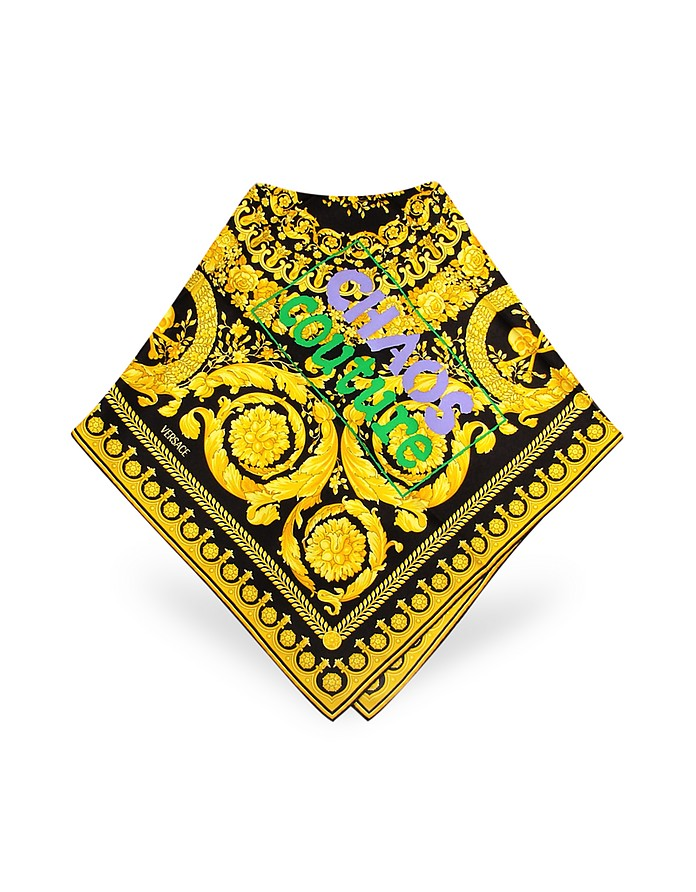 Black and Gold Ornamental Logoed Printed Silk Square Scarf  - Versace