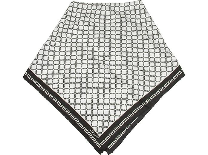 Black and White Greca Printed Twill Silk Square Scarf - Versace