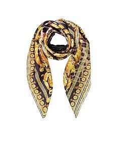Beige Wild Baroque Print Silk Square Scarf - Versace