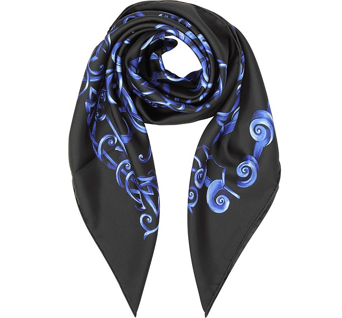 Black and Bluette Heritage Barocco Print Silk Square Scarf - Versace