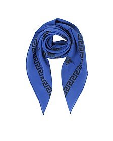 Bluette and Black Greek Medusa Print Silk Square Scarf - Versace