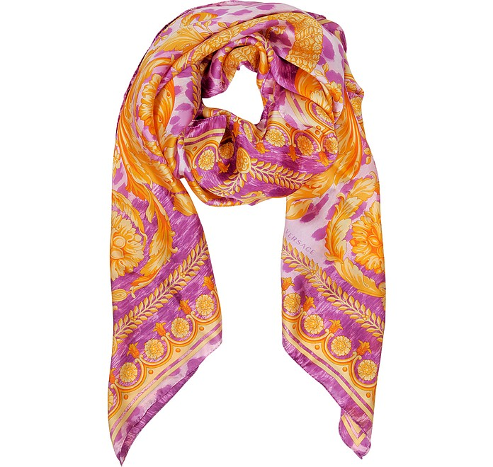Purple and Orange Twill Silk Wrap - Versace