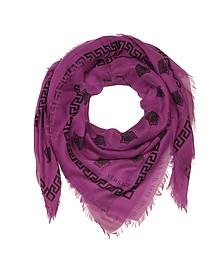 Keffieh à Franges en Soie et Modal Imprimé Logo Medusa - Versace