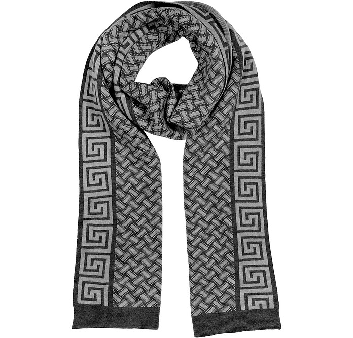96350cfaa84 Versace Black Gray Greca Logo and Geometric Wool Scarf at FORZIERI ...