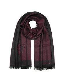 Herringbone Wool Long Scarf - Versace