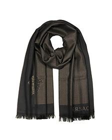 Herringbone Wool Long Scarf - Versace