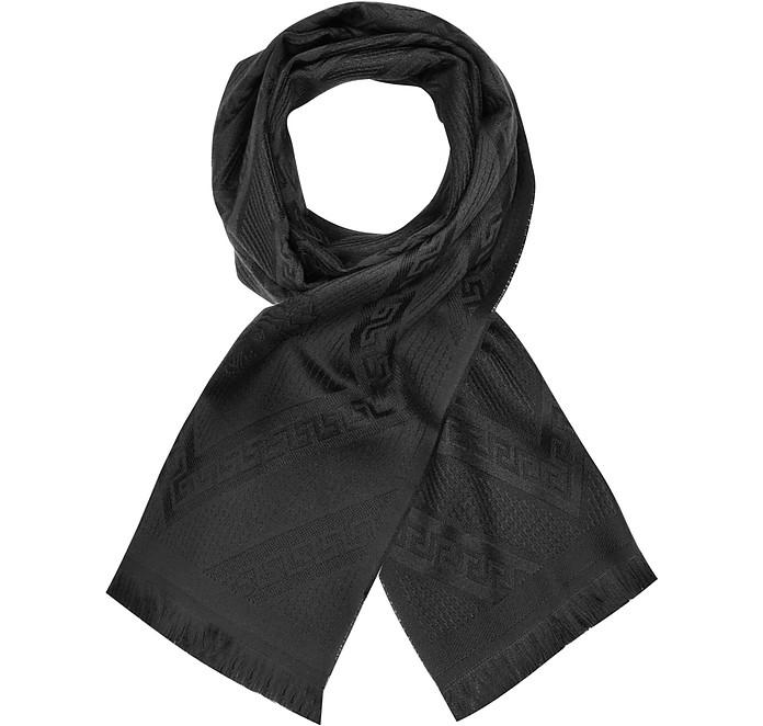 b7e81bfac Versace Black Signature Woven Greca Wool Scarf at FORZIERI