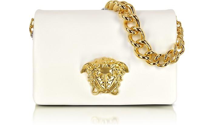 Белая Кожаная Сумка на Плечо с Логотипом Медузой - Versace